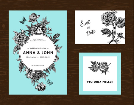 vintage postcard: Wedding set. Menu, save the date, guest card. Black and white flowers peonies on mint background. Vintage vector illustration.