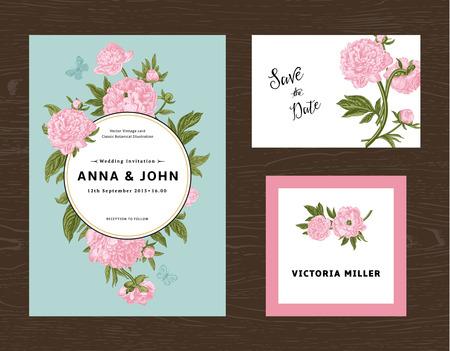 Wedding set. Menu, save the date, guest card. Pink flowers peonies. Vintage vector illustration.