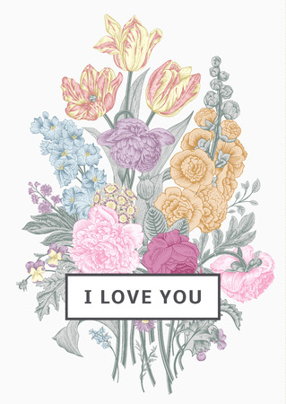 Vintage floral card. Victorian bouquet. Pastel peonies, mallow, delphinium, roses, tulips, violets, petunia. I love you. Vector illustration.