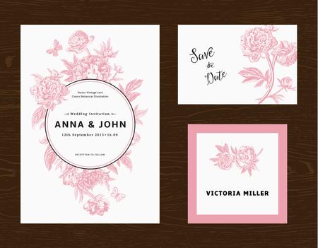 Establece la boda. Menú, ahorre la fecha, tarjeta de huésped. Flores rosadas peonías. Ilustración vectorial de la vendimia.