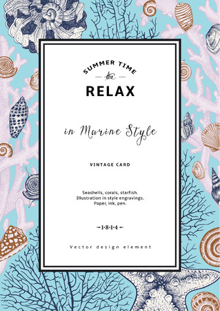 seashell: Relax. Summer rest. Vintage card. Frame with seashells, coral and starfish. Vector illustration in style engravings.
