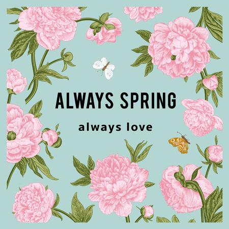 ビンテージ ベクトル花カード。牡丹。春の季節します。