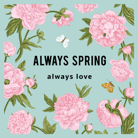 Vintage vector floral card. Peonies. Always spring