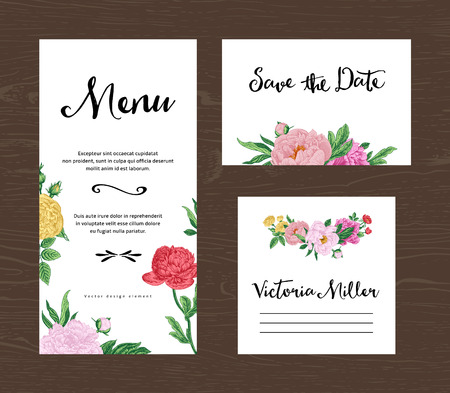 wedding guest: Wedding set. Menu, save the date, guest card. Colorful flowers peonies and roses. Vintage vector illustration.