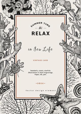 étoile de mer: Se détendre. Été repos. Vintage card. Cadre avec des coquillages, des coraux et des étoiles de mer. Noir et blanc illustration vectorielle dans les gravures de style.