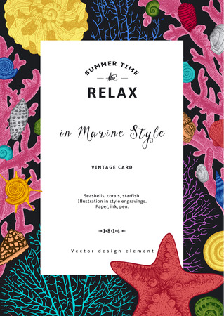 Relax. Summer rest. Vintage card. White frame with seashells, coral and starfish. Colorful vector illustration in sea style.