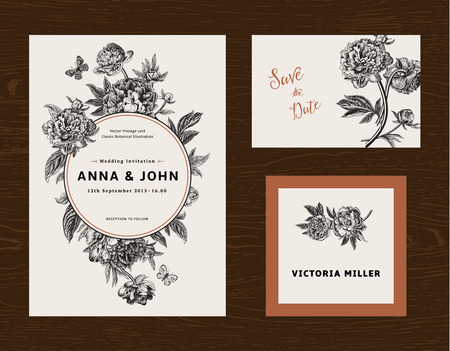 shabby: Wedding set. Menu, save the date, guest card. Black and white flowers peonies. Vintage vector illustration.