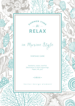 Relaxe. Descanso do verão. O cartão do vintage. Quadro com conchas, corais e estrelas do mar. Ilustração do vetor nas gravuras de estilo. Ilustração