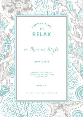 stella marina: Rilassare. Estate di riposo. Carta d'epoca. Cornice con conchiglie, coralli e stelle marine. Illustrazione vettoriale in incisioni di stile.