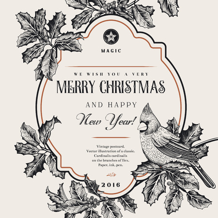 Vintage vector card. We Wish You A Very Merry Christmas And Happy New Year. A bird on a branch of holly. Black and white. Ilustrace