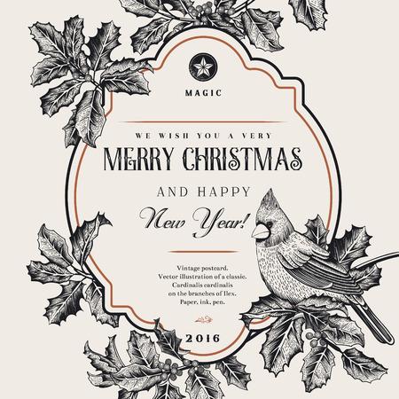 Vintage-Vektor-Karte. Wir wünschen Ihnen eine frohe Weihnachten und ein frohes neues Jahr. Ein Vogel auf einem Zweig der Stechpalme. Schwarz und weiß.