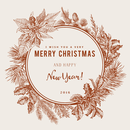 pine wreath: Vintage vector card. I Wish You A Very Merry Christmas And Happy New Year. The wreath of branches of different trees. Gold. Illustration
