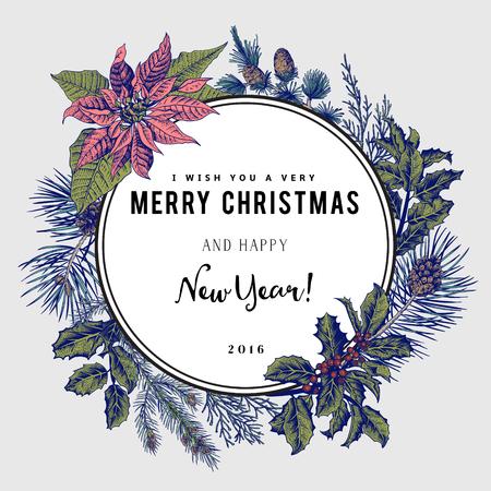 navidad elegante: Tarjeta del vector de la vendimia. Les deseo una muy Feliz Navidad y Feliz Año Nuevo. La corona de ramas de árboles diferentes.