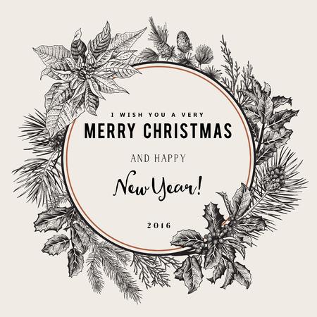flor de pascua: Tarjeta del vector de la vendimia. Les deseo una muy Feliz Navidad y Feliz Año Nuevo. La corona de ramas de árboles diferentes. En blanco y negro.