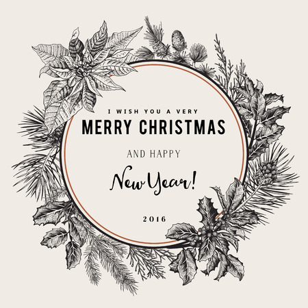 Vintage vector card. I Wish You A Very Merry Christmas And Happy New Year. The wreath of branches of different trees. Black and white. Imagens - 45602594