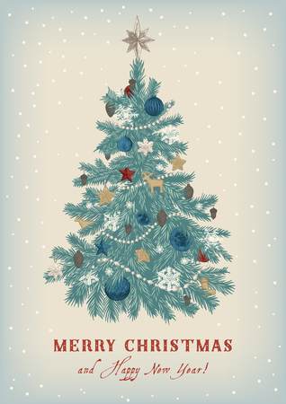 Christmas tree. Vector vintage illustration. Merry Christmas And Happy New Year. Greeting card. Vettoriali