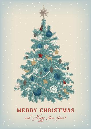 Kerstboom. Vector vintage illustratie. Vrolijk kerstfeest en een gelukkig nieuwjaar. Wenskaart.