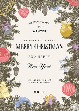 Vintage vector kaart. Kerstmis frame met pastel speelgoed en decoratie.