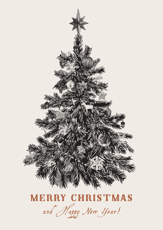 Christmas tree. Vector vintage illustration. Black and white. Merry Christmas And Happy New Year. Greeting card. Ilustração