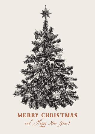 arboles blanco y negro: Árbol de Navidad. Vector ilustración de la vendimia. En blanco y negro. Feliz navidad y próspero año nuevo. Tarjeta de felicitación. Vectores