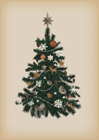 Christmas tree. Vector vintage illustration.