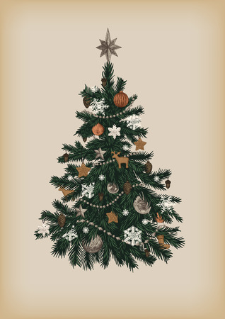 Christmas tree. Vector vintage illustration.