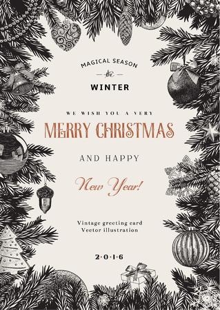 abetos: Tarjeta del vector de la vendimia. Marco de Navidad con juguetes y decoraciones. En blanco y negro.