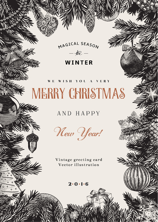 Vintage karta wektor. Christmas ramki z zabawek i ozdób. Czarny i biały. Ilustracja