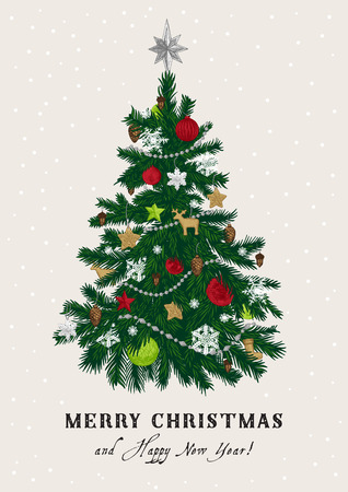 Christmas tree. Vector vintage illustration. Merry Christmas And Happy New Year. Greeting card. Green and red.