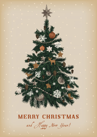 Christmas tree. Vector vintage illustration. Merry Christmas And Happy New Year. Greeting card. Çizim