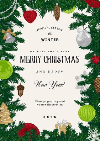 Vintage vector kaart. Kerst frame met rode en groene speelgoed en decoraties.