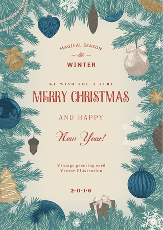 Vintage vector card. Christmas frame with blue and beige toys and decorations. Vectores