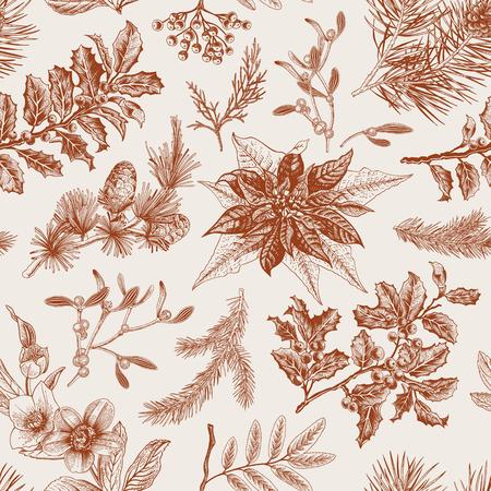 botanical branch:  Seamless vintage pattern. Christmas Botanical background. Illustration