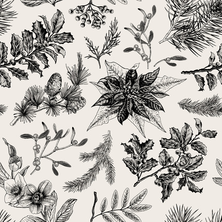 Seamless vintage pattern. Christmas Botanical background. Vettoriali