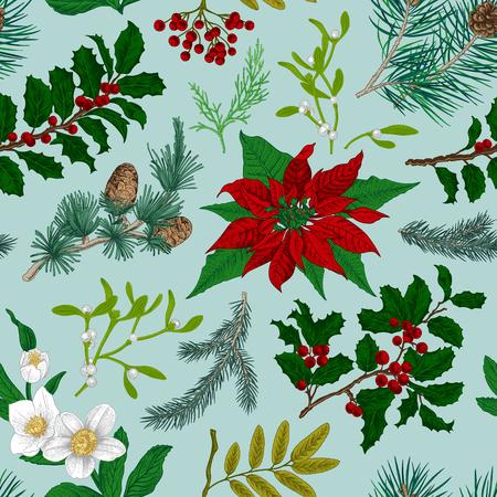 Seamless vintage pattern. Christmas Botanical background. Vettoriali