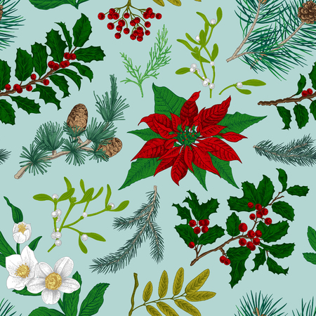 Seamless vintage pattern. Christmas Botanical background. Illustration