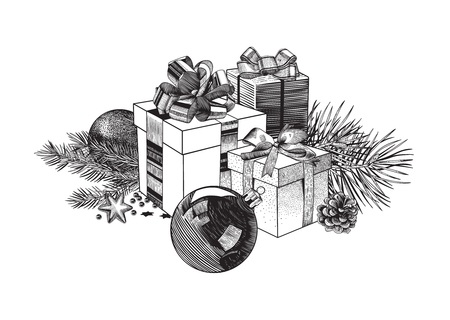 Christmas composition of gift boxes, balls and fir branches. Design element. Black and white. Illustration