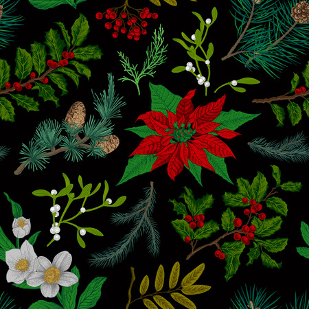 holly day:  Seamless vintage pattern. Christmas Botanical background. Illustration