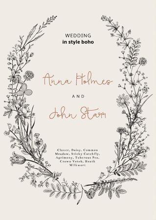 campo de flores: La corona de flores silvestres. invitación de la boda en el estilo del boho. Ilustración del vector de la vendimia.