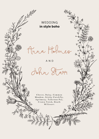 field flower: The wreath of wild flowers. Wedding invitation in the style of boho. Vector vintage illustration.