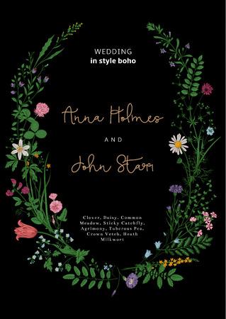 La corona de flores silvestres. invitación de la boda en el estilo del boho. Ilustración del vector de la vendimia.
