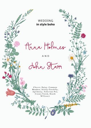 La corona de flores silvestres. invitación de la boda en el estilo del boho. Ilustración del vector de la vendimia. Ilustración de vector