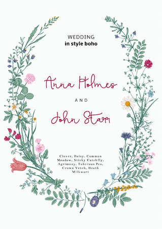 invitation background: The wreath of wild flowers. Wedding invitation in the style of boho. Vector vintage illustration.