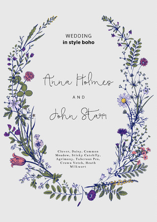 flowers summer: The wreath of wild flowers. Wedding invitation in the style of boho. Vector vintage illustration.