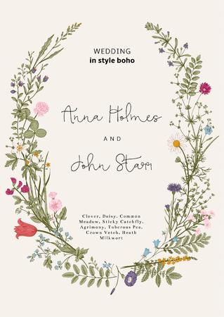 stil: Der Kranz von wilden Blumen. Einladung zur Hochzeit im Stil der boho. Vector Vintage Illustration.