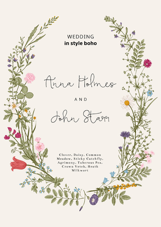 wild: The wreath of wild flowers. Wedding invitation in the style of boho. Vector vintage illustration.