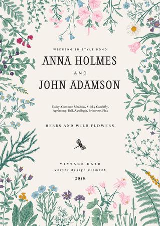 El marco de hierbas y flores silvestres. invitación de la boda en el estilo del boho. Ilustración del vector de la vendimia. Vistoso