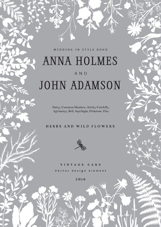 El marco de hierbas y flores silvestres. invitación de la boda en el estilo del boho. Ilustración del vector de la vendimia.
