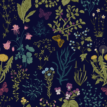 벡터 빈티지 원활한 플로랄 패턴입니다. 허브와 야생 꽃입니다. 식물 그림 조각 스타일. 화려한 일러스트