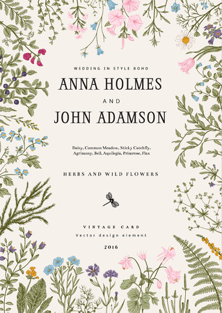 The frame of herbs and wild flowers. Wedding invitation in the style of boho. Vector vintage illustration. Colorful
